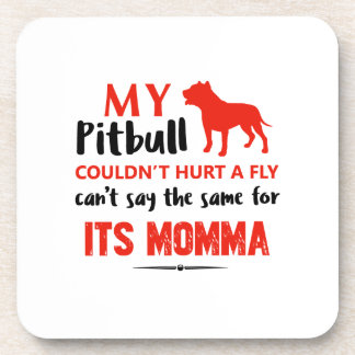 Funny Pit-bull Mommy designs Beverage Coasters