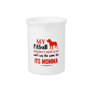 Funny Pit-bull Mommy designs Beverage Pitchers