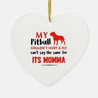 Funny Pit-bull Mommy designs Ceramic Heart Ornament