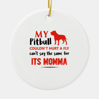 Funny Pit-bull Mommy designs Ceramic Ornament