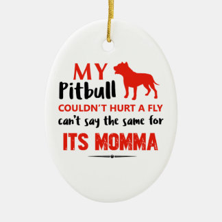 Funny Pit-bull Mommy designs Ceramic Oval Ornament