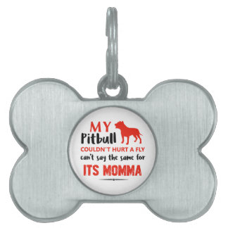 Funny Pit-bull Mommy designs Pet ID Tag