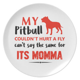 Funny Pit-bull Mommy designs Plate