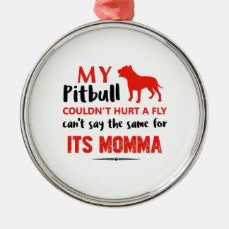 Funny Pit-bull Mommy designs Silver-Colored Round Ornament