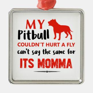 Funny Pit-bull Mommy designs Silver-Colored Square Ornament