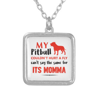 Funny Pit-bull Mommy designs Silver Plated Necklace