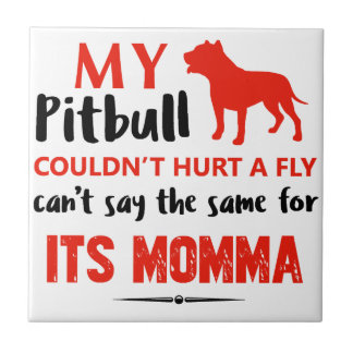 Funny Pit-bull Mommy designs Tile