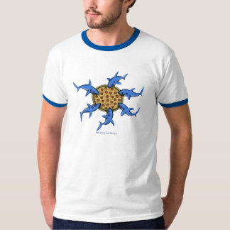 Funny pizza eating sharks cartoon art t-shirt