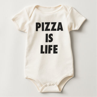 Funny Pizza is Life Fast Food Print Baby Bodysuit