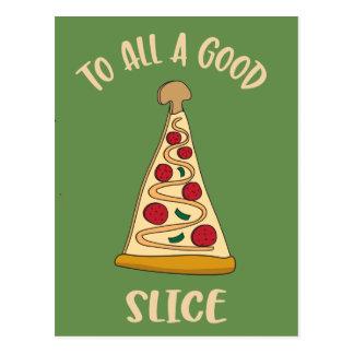 Funny Pizza Lover's Christmas Tree Postcard