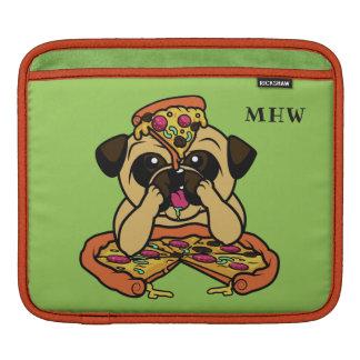 Funny Pizza Pug custom monogram iPad sleeve