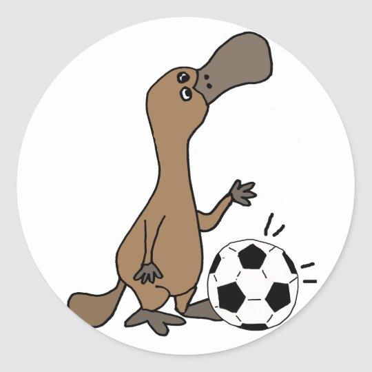 Funny Platypus Playing Soccer or Football Art Classic Round Sticker