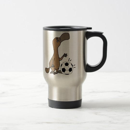 Funny Platypus Playing Soccer or Football Art Travel Mug