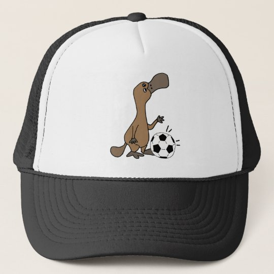 Funny Platypus Playing Soccer or Football Art Trucker Hat