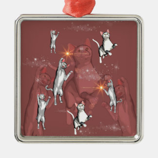 Funny playing cartoon cats ornament