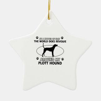 Funny PLOTT HOUND designs Ceramic Star Ornament