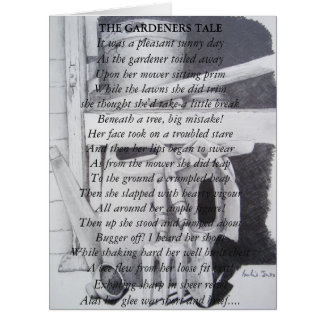 Funny poem and still life garden tools art card