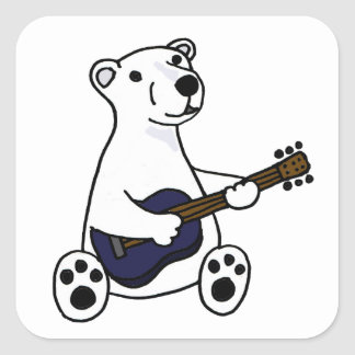 Funny Polar Bear Playing Guitar Square Sticker