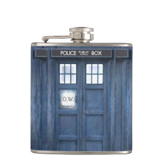 Funny Police call box, add monogram Hip Flask