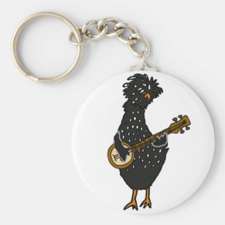 Funny Polish Chicken Playing Banjo Art Keychain