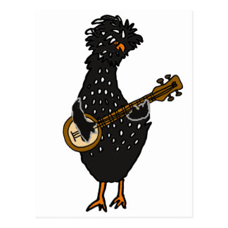 Funny Polish Chicken Playing Banjo Art Postcard