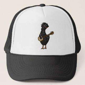 Funny Polish Chicken Playing Banjo Art Trucker Hat