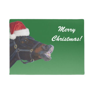 Funny Pony Merry Christmas Doormat