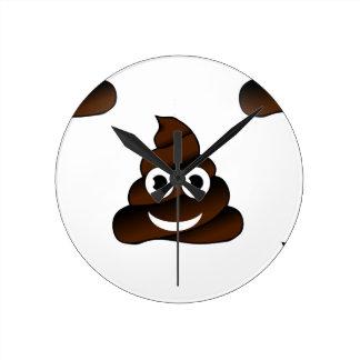 funny poop emoji round clock