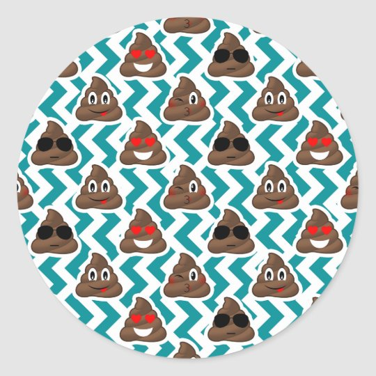 Funny Poop Emojis Teal Patterned Stickers
