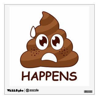 Funny Poop Happens Emoji Wall Decal