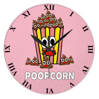 Funny Poopcon Poop Pile Smiling Head Popcorn Large Clock