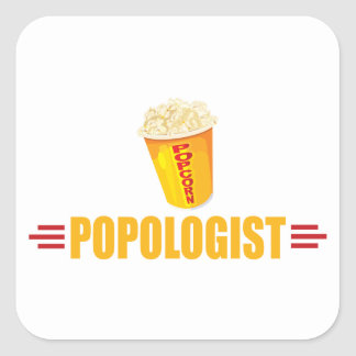 Funny Popcorn Square Sticker