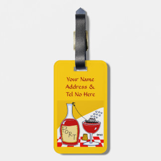 Funny Port Wine Cartoon Luggage Tags