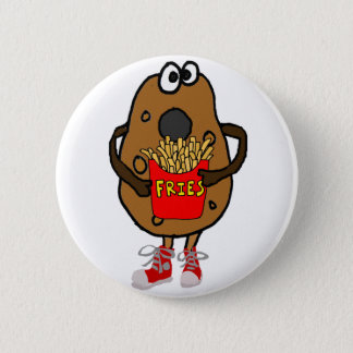 Funny Potato Eating French Fries Cartoon 2 Inch Round Button