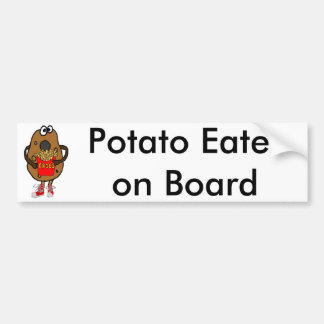 Funny Potato Eating French Fries Cartoon Bumper Sticker