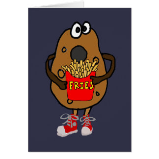 Funny Potato Eating French Fries Cartoon Card