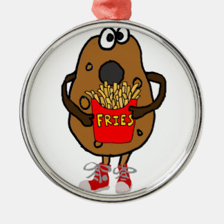 Funny Potato Eating French Fries Cartoon Metal Ornament