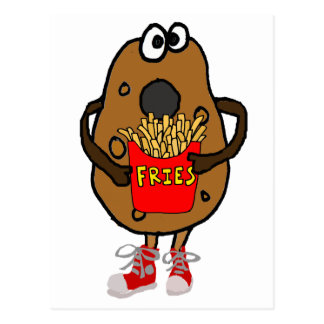 Funny Potato Eating French Fries Cartoon Postcard