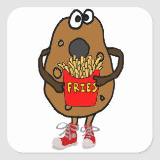 Funny Potato Eating French Fries Cartoon Square Sticker