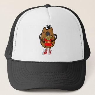 Funny Potato Eating French Fries Cartoon Trucker Hat