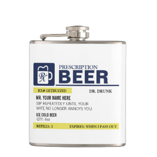 Funny Prescription Beer Hip Flask