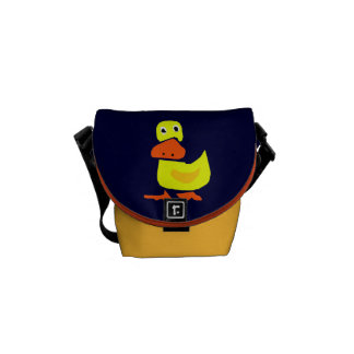 Funny Primitive Art Duck Messenger Bag
