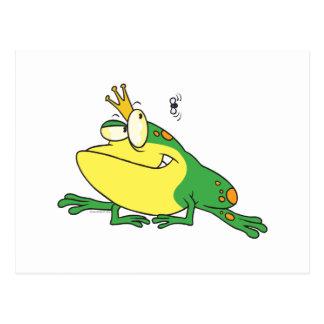 funny prince frog eyeing fly animal cartoon postcard