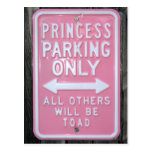 Funny Princess Parking Only sign Postcard