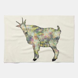 Funny Psychedelic Art Goat Animal Design Kitchen Towel