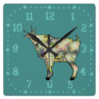 Funny Psychedelic Art Goat Animal Design Wallclocks
