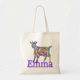 Funny Psychedelic Art Goat Design add Your Name Tote Bag