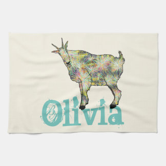 Funny Psychedelic Art Goat Design with Your Name Kitchen Towel