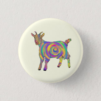 Funny Psychedelic Goat Colourful Spiral Animal Art 1 Inch Round Button