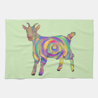 Funny Psychedelic Goat Colourful Spiral Animal Art Kitchen Towel